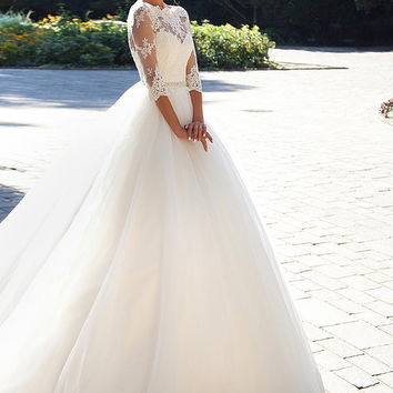 2016 New Milla Nova Lace Bateau Neck Wedding Dress Half Sleeves Button Back Beaded Belt Appliques Garden Novia Bridal Gowns WB5