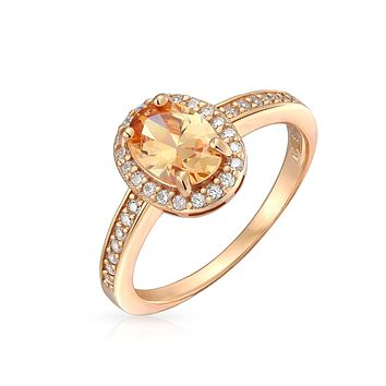 1.5CT Classic Oval Shape CZ Promise Engagement Ring Bezel Set Halo Thin Band Cubic Zirconia Rose Gold Plated 925 Sterling Silver