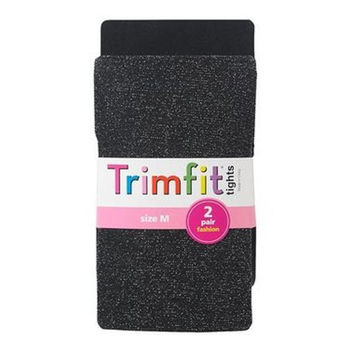 Trimfit Girl's 2 Pair Fashion Tights in Black Solid/Sparkle Small Medium Large