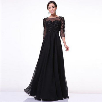 Prom Dress Black Half-sleeve Lace Sexy Mosaic One Piece Dress [4918233476]