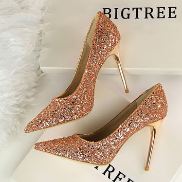 High Heels Shoes Women Pumps Shoes Wedding  Stilettos Party Shoes For Women  Fashion Ladies Shoes Bling