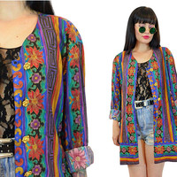 vintage 90s floral jacket slouchy blazer oversized boho hippie gypsy novelty new wave 80s jacket vivid print medium large