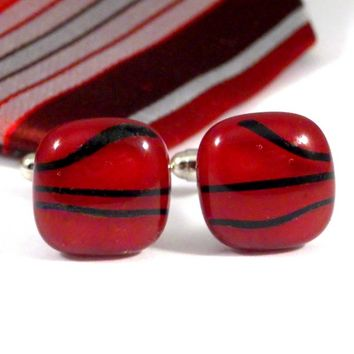 Red Glass Cufflinks with Black Stripes, Square, Handmade Fused Glass