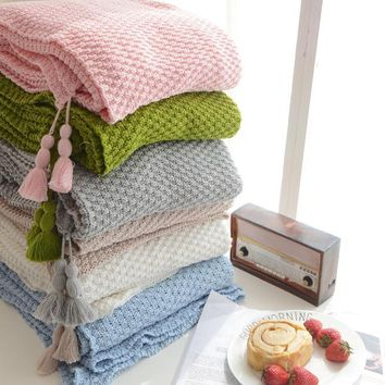 130X170CM Cotton Cable Knit Throw Blanket Super Soft Warm White Color Fluffy Blanket INS Facebook online celebrity blanket