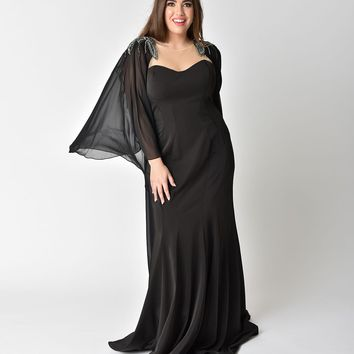 Plus Size Black Sleeved Mesh Cape Embellished Gown