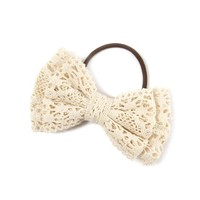 Crochet Bow Ponytail Holder  | Icing