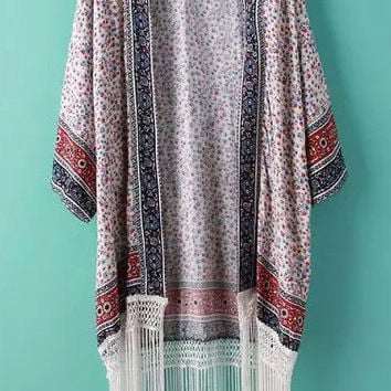 Printed 3/4-Length Sleeves Kimono With Tassels