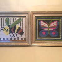 Framed Needlepoint Pictures of a Butterfly and a Bumblebee/Vintage Needlepoint/1970 Needlepoint/Artwork