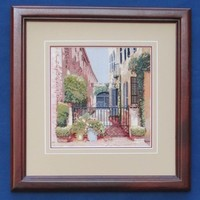 Street View Embroidery - Queen Street Alley Framed Petit Point Stitch Picture