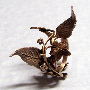 Fairy Tale Forest Ivy Leaf Ring by ranaway on Etsy