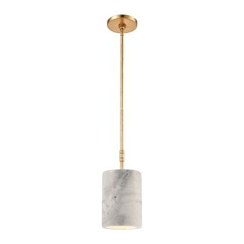 Lexington Avenue 1-Light Mini Pendant in Antique Gold Leaf with Thick White Marble