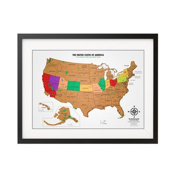 Scratch off USA Map with National Parks - Travel Tracker Map®