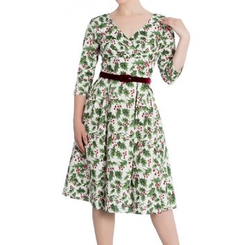 Hell Bunny Holly Berry 50''S Dress Holiday Glamour V-Neck 3/4 sleeves