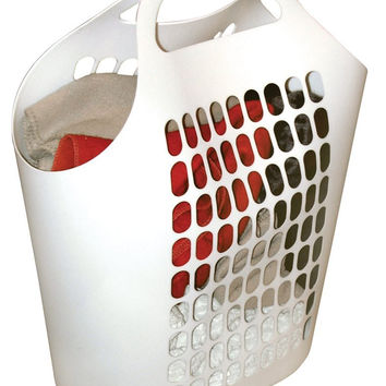United Solutions LN0003 Portable 1.5 Bushel Laundry Hamper with Hook&Lock Handle Design in White-One and a Half Bushel Hamper-White with Blue Hook&Lock Handles
