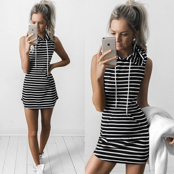 Stylish Stripe Hoodie Trendy Mini Dress
