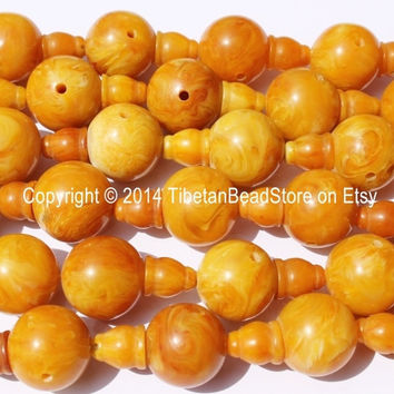 1 set - Tibetan Amber Copal Resin Guru Bead Set - Guru Bead & Bead Cap - 18mm - Mala Making Supplies - GB30