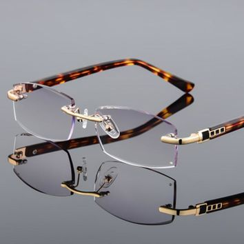ec94e0975ad7 Luxury Rhinestone Reading Glasses Men s Rimless Gold Hyperopia Male Reader  Eyeglasses High Clear Lens Man Presbyopic