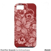 Floral Flow- Burgundy- Cover For iPhone 5/5S