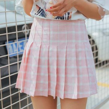 9033468053 2018 New Women Summer Mini Skirts High Waist Sexy Pleated Mini Skirts Pink  Blue Plaid Harajuku