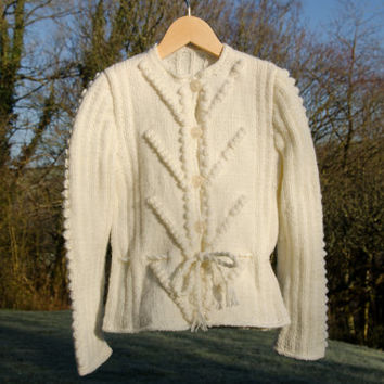1940s Vintage Style Cardigan for Girl - 5 Years Old - Ivory Cream Hand Knitted Jacket - Belted Tie Cardigan