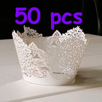 50 Hydrangea cupcake liner Stencil flower shimmer cupcake wrapper white flower custom made Cupcake Wrapper wedding party floral wraps collar