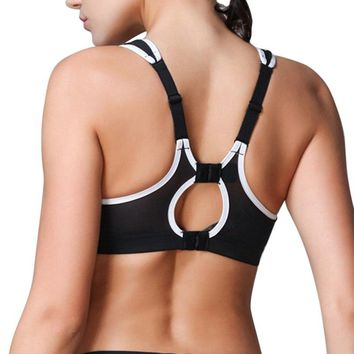 Black Sexy Full Cup Shockproof Quick Dry Sports Bra Fitness Gym Active Wear Running Athletic Shirts Yoga Tank Top Racerback Bra