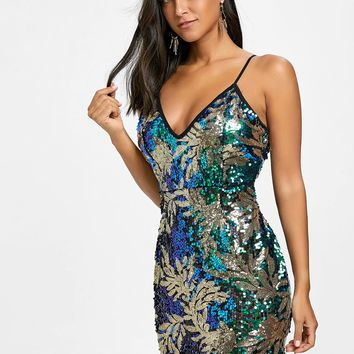 Sequin Leaf Pattern Cami Strap Mini Dress