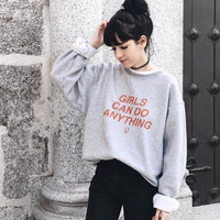 Girls can do anything grey Sweatshirt Women girl Fashion Long Sleeve loose  shirt crewneck Cotton Outfits Tops shirts Hoodies