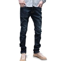 Mens Washed Low Waist New Fashion Skinny Denim Jeans Dark Blue W32