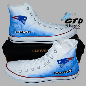 Hand Painted Converse Hi. New England Patriots, Football. Sports. Handpainted Shoes. Optical white