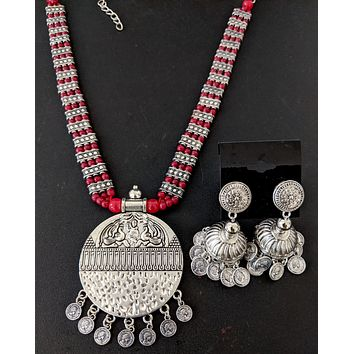 Bead chain necklace with designer round Pendant and Jhumka Earring set