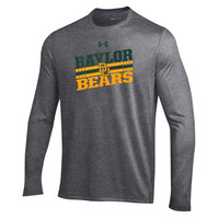 Baylor Bears Under Armour Slant Long Sleeve Performance T-Shirt – Heather Gray