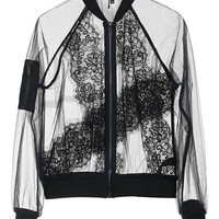 Sheer Lace Bomber Jacket - Topshop