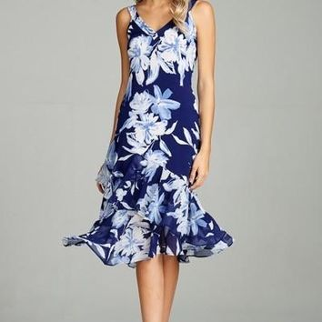 Emerald's Floral Printed Bulgari Sleeveless Midi Dress with Ruffle Chiffon Contrast Hem Detail