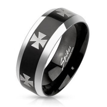 Iron Cross Laser Etched Stainless Steel Black IP Center Band Ring with Beveled Edge