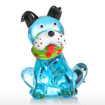Tooarts Blue Squatting Dog Gift Glass Ornament Animal Figurine Handblown Home Decor Multicolor Home Decoration for Office Crafts