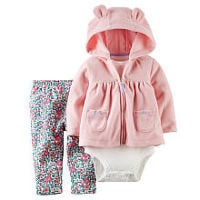 Carter's Girls 3 Piece Light Pink Zip Up 3D Ears Hooded Fleece Cardigan, Bodysuit and Floral Pant Set