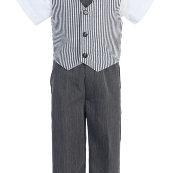 Charcoal Grey Seersucker Vest & Pants Easter Spring Outfit 4 Pc Suit (Baby 6 Months - Little Boys Size 7)