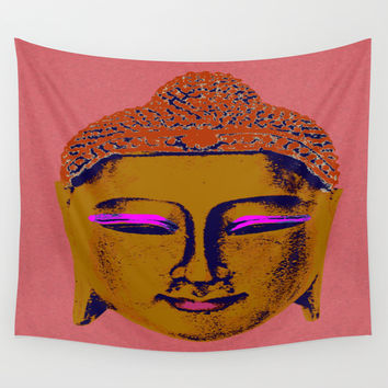 Brown Buddha Wall Tapestry by Aloke Design