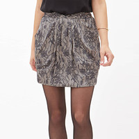 Apricot Floral Lace Ruched Mini Skirt