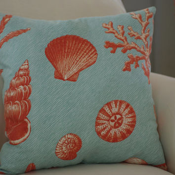 Beach Decor Aqua Blue, Coral Sea Life and Shell Throw Pillow