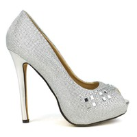 Celeste Ingrid-04 Embellished High Heel Peep-Toe Dress Pump in Silver @ ippolitan.com