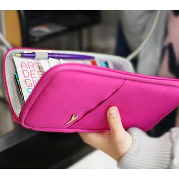 travel accessories women s storage bags brand wallet for passport credit id cards tickets holder waterproof hasp purse bag