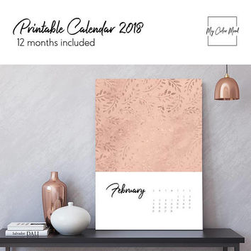 Art calendar 2018 wall calendar printable, Monthly wall calendar 2018 Downloadable desk calendar 2018 Rose gold decorative creative calendar