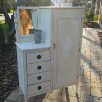 Distressed Antique Vintage Wardrobe Dresser with Mirror Painted with Annie Sloan Chalk Paint Old White sealed with wax  Niagara