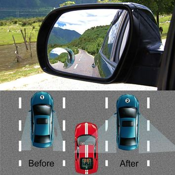 Car Rear View Wide Angle Round Convex Mirror 360 Degrees Rotating Wide Angle Blind  Spot Auto Exterior Accessory