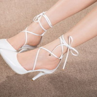 Womens Sexy Strappy Pointed Toe High Heels Pumps Slingbacks White Shoes Sandals