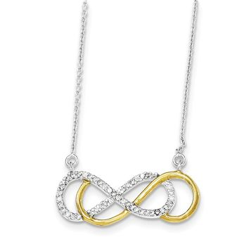 Sterling Silver Flash White Gold-plated Cz Infinity Necklace