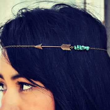 arrow chain head piece with turquoise nuggets, chain headband, tribal headband, metal headband, unique headband