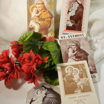 Saint Anthony Devotions Prayer Cards St. Anthony Vintage Holy Cards (7): Beautiful Retro Colors and Many Prayer Opportunities